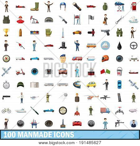 100 manmade icons set in cartoon style for any design vector illustration