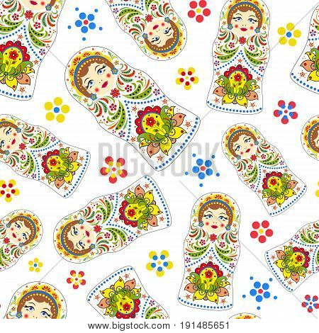 Vector illustration of seamless pattern with russian dolls matryoshkas