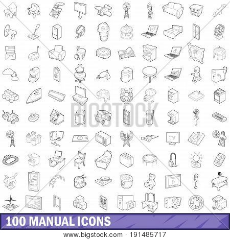100 manual icons set in outline style for any design vector illustration