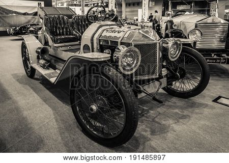 STUTTGART GERMANY - MARCH 02 2017: Vintage car Ford Model T Speedster 1912. Sepia toning. Europe's greatest classic car exhibition