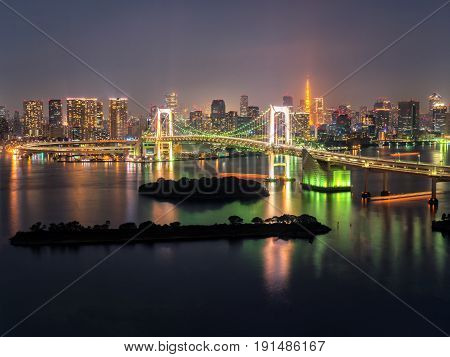 Tokyo Tower And Rainbow Bridge In Japan