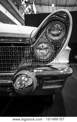 STUTTGART GERMANY - MARCH 02 2017: Fragment of personal luxury car Lincoln Continental Mark V convertible 1960. Black and white. Europe's greatest classic car exhibition