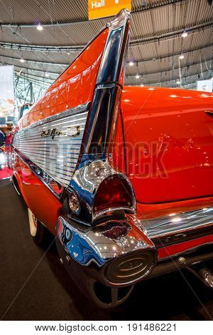 STUTTGART GERMANY - MARCH 02 2017: Fragment of the full-size car Chevrolet Bel Air 1957. Europe's greatest classic car exhibition
