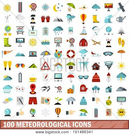 100 meteorological icons set in flat style for any design vector illustration
