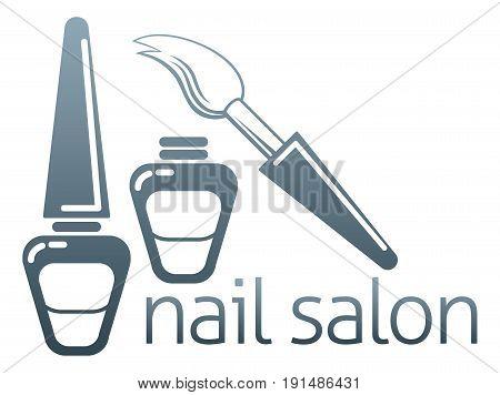 An illustration of bottles of nail varnish and brush, nail salon concept