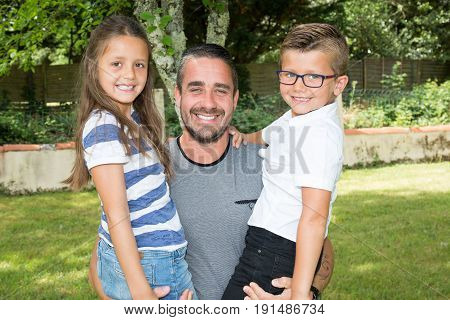 Lovely Family With Father And Child Girl And Boy