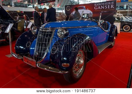 STUTTGART GERMANY - MARCH 02 2017: Sports car Wanderer W25K Roadster 1936. Europe's greatest classic car exhibition