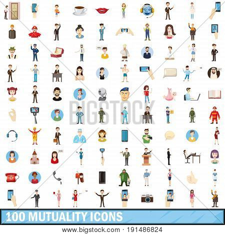100 mutuality icons set in cartoon style for any design vector illustration