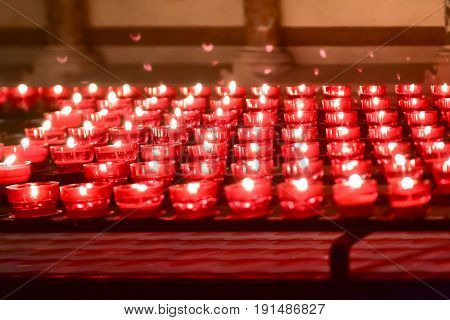 Candles in the Basilica of the Holy Blood in Bruges Belgium UNESCO World Heritage Site