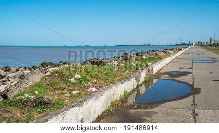 Landscape Of Sea With Breakwater. Black Sea, Poti, Georgia
