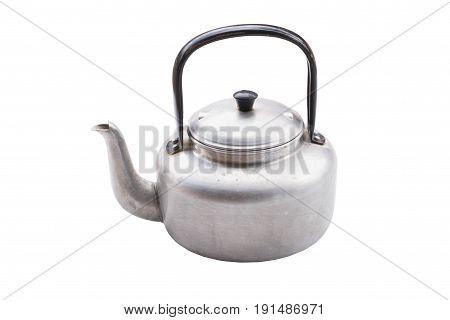 aluminium kettle isolated on white background .