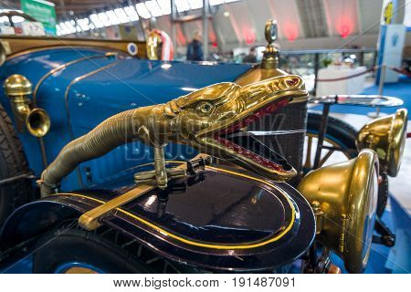 STUTTGART GERMANY - MARCH 02 2017: Decoration in the form of a snake's head on the vintage car Delage B1 Tourer 1915. Europe's greatest classic car exhibition