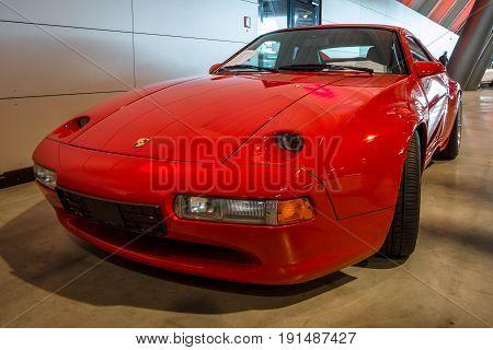 STUTTGART GERMANY - MARCH 02 2017: Sports car Porsche 928 S4 Strosek Design. Europe's greatest classic car exhibition