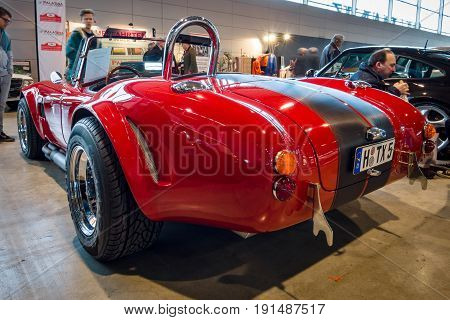 STUTTGART GERMANY - MARCH 02 2017: Roadster Phoenix-Cobra 1989. Rear view. Europe's greatest classic car exhibition