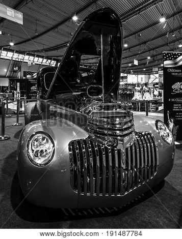 STUTTGART GERMANY - MARCH 02 2017: Pickup Chevrolet AK Series 1946. Black and white. Europe's greatest classic car exhibition