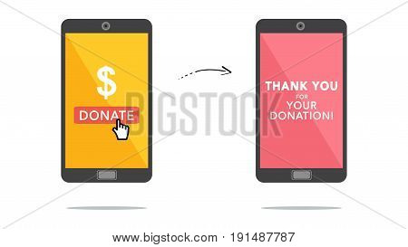 Concept of online donation through mobile phone.