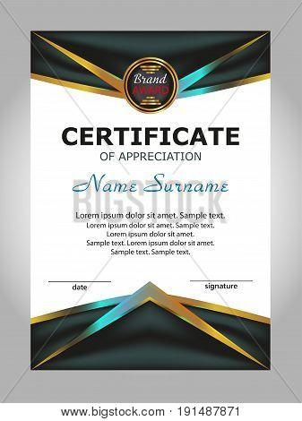 Certificate of appreciation diploma. Reward. Award winner. Vector illustration.