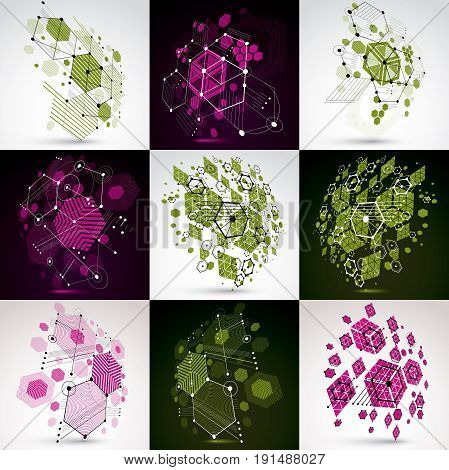 Bauhaus retro art vector backgrounds collection  made using grid and hexagons. Geometric graphic 1960s illustrations can be used as booklet cover design. Technological patterns.