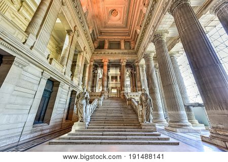 Brussels, Belgium - May 11, 2017: Justice Palace (Palais de Justice) in Brussels Belgium. The eclectic and neoclassical style building serves as the headquarters of several important law courts.