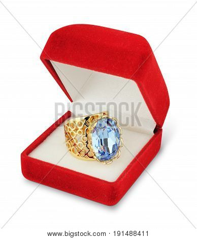 jewellry box with ring isolated on white