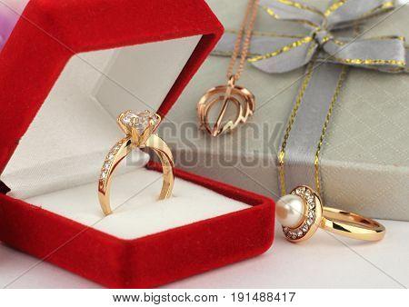 jewelery rings with gift box, macro .