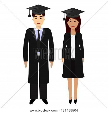 Guy, girl university graduates, isolated on white. Modern flat illustration of young people graduate bachelor degree, in graduation gowns, mortarboards. Education, training or business school concept