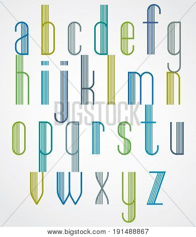 Poster striped tall colorful font on white background with outline.