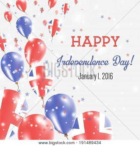 United Kingdom Independence Day Greeting Card. Flying Balloons In United Kingdom National Colors. Ha
