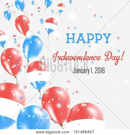 Netherlands Independence Day Greeting Card. Flying Balloons In Netherlands National Colors. Happy In