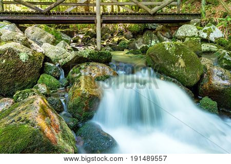 French countryside - Vosges. A wild river in the woods of the Vosges mountains with a small waterfall and a wooden bridge in the background.