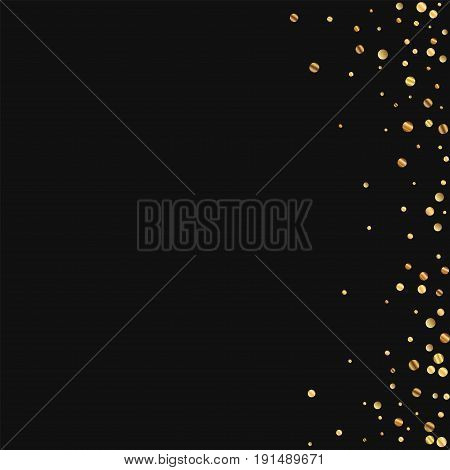Sparse Gold Confetti. Abstract Right Border On Black Background. Vector Illustration.