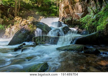 French countryside - Vosges. Several successive waterfalls in the forests of the Vosges.