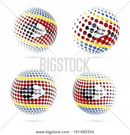 Swaziland Halftone Flag Set Patriotic Vector Design. 3D Halftone Sphere In Swaziland National Flag C