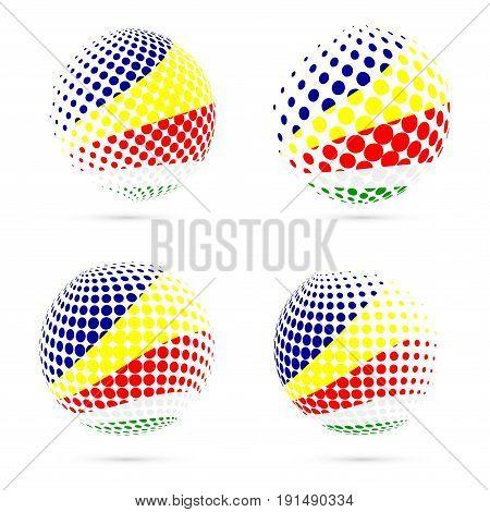 Seychelles Halftone Flag Set Patriotic Vector Design. 3D Halftone Sphere In Seychelles National Flag