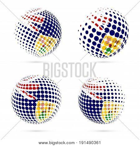 Turks And Caicos Halftone Flag Set Patriotic Vector Design. 3D Halftone Sphere In Turks And Caicos N