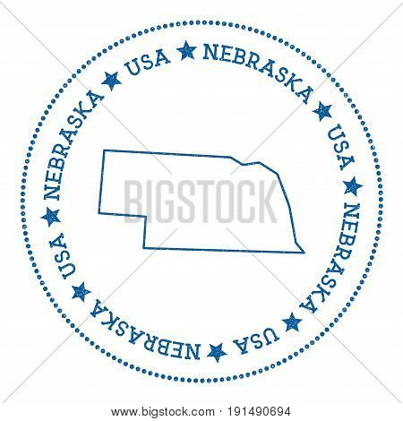 Nebraska Vector Map Sticker. Hipster And Retro Style Badge With Nebraska Map. Minimalistic Insignia