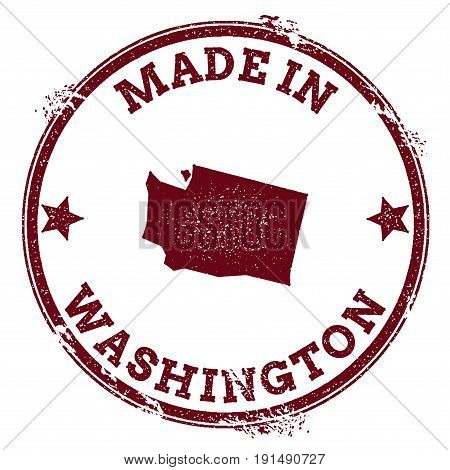 Washington Vector Seal. Vintage Usa State Map Stamp. Grunge Rubber Stamp With Made In Washington Tex