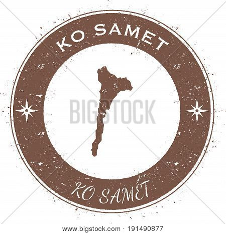 Ko Samet Circular Patriotic Badge. Grunge Rubber Stamp With Island Flag, Map And Name Written Along