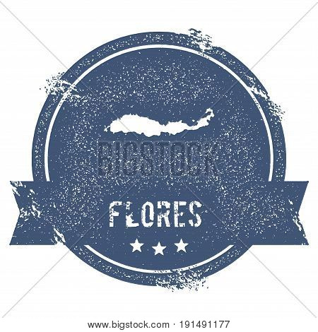 Flores Logo Sign. Travel Rubber Stamp With The Name And Map Of Island, Vector Illustration. Can Be U