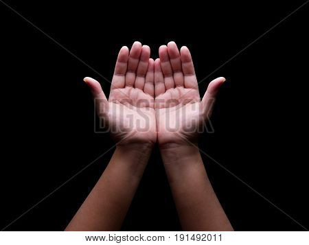 human hands gesture in many action on black background with clipping pathprying for Allah: muslim God.