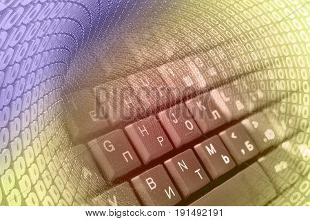 Digits and keyboard - abstract computer background toned.