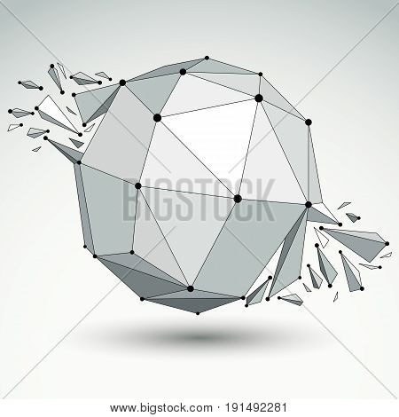 3d vector digital wireframe spherical object broken into different particles and refractions geometric polygonal structure with lines mesh. Low poly shattered shape lattice form.