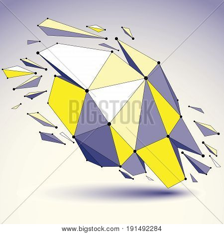 3d vector low poly object with black connected lines and dots geometric wireframe shape with refractions. Asymmetric perspective shattered form.