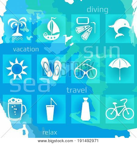 Set of twelve white vacation icons. Vector illustration