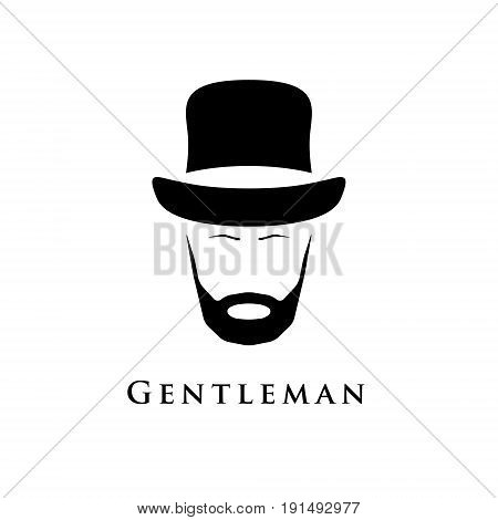 Gentleman with beard and in hat. Vector illustration.