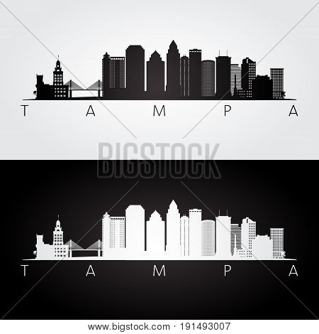 Tampa USA skyline and landmarks silhouette black and white design vector illustration.