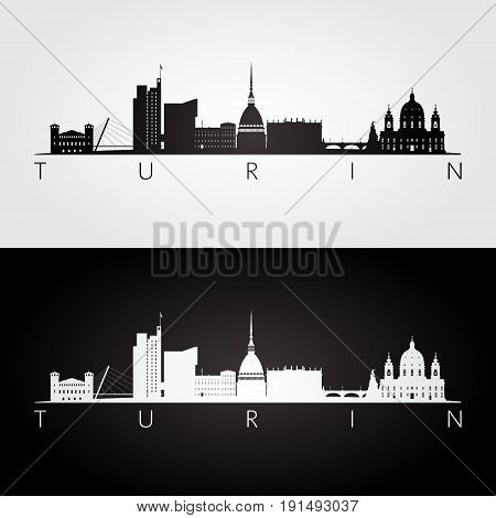 Turin skyline and landmarks silhouette black and white design vector illustration.