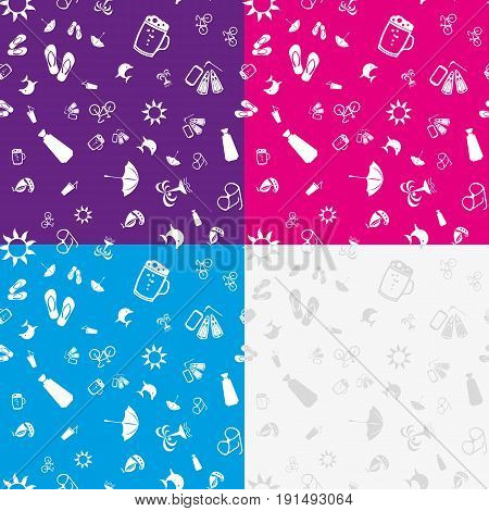 Seamless pattern with white icons on the theme of the sea and vacation. Vector illustration