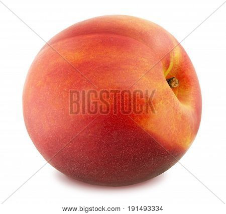 Fresh Ripe Nectarine Isolated on White Background in Full Depth of Field with Clipping Path.