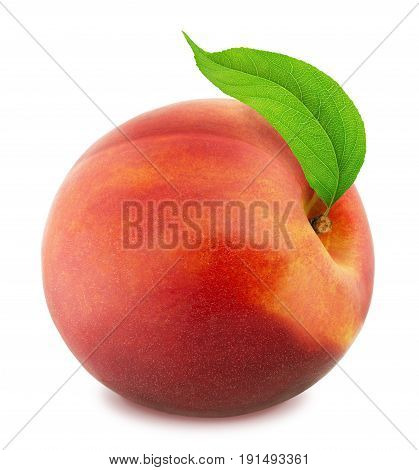 Fresh Ripe Nectarine with Clipping Path Isolated on White Background.
